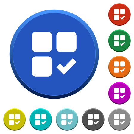 Component ok round color beveled buttons with smooth surfaces and flat white icons Illusztráció