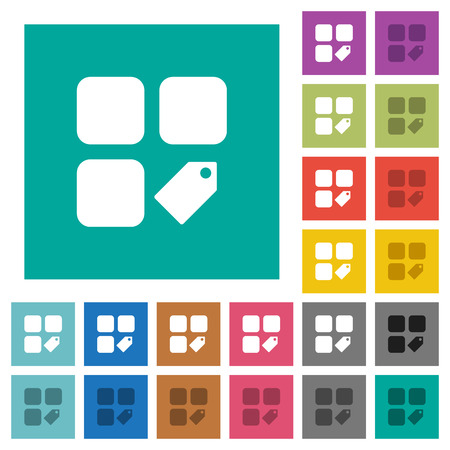 Tag component multi colored flat icons on plain square backgrounds. Included white and darker icon variations for hover or active effects. Illustration