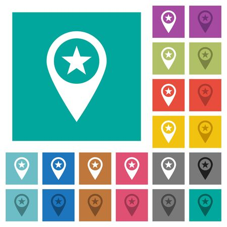 POI GPS map location multi colored flat icons on plain square backgrounds. Included white and darker icon variations for hover or active effects.