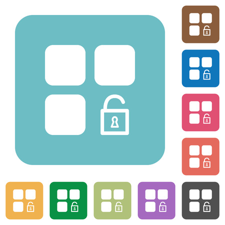 intercommunication: Unlock component white flat icons on color rounded square backgrounds