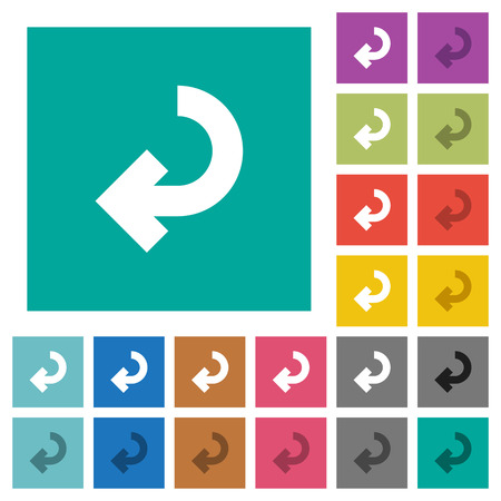 accomplish: Return arrow multi colored flat icons on plain square backgrounds. Included white and darker icon variations for hover or active effects.