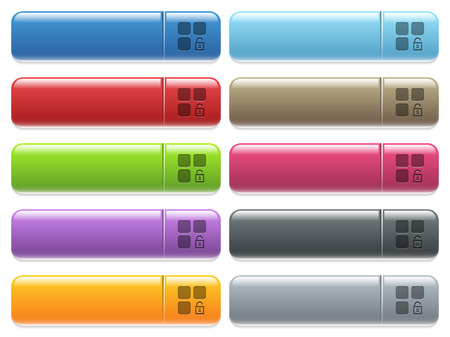 Unlock component rounded square flat icons engraved style icons on long, rectangular, glossy color menu buttons. Available copyspaces for menu captions.