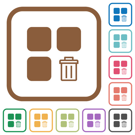 intercommunication: Delete component simple icons in color rounded square frames on white background
