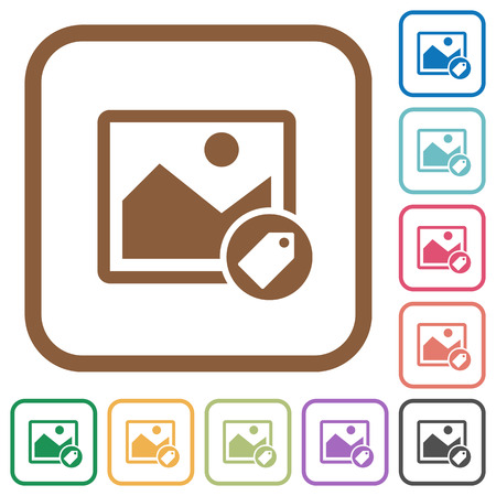 simple frame: Image tagging simple icons in color rounded square frames on white background