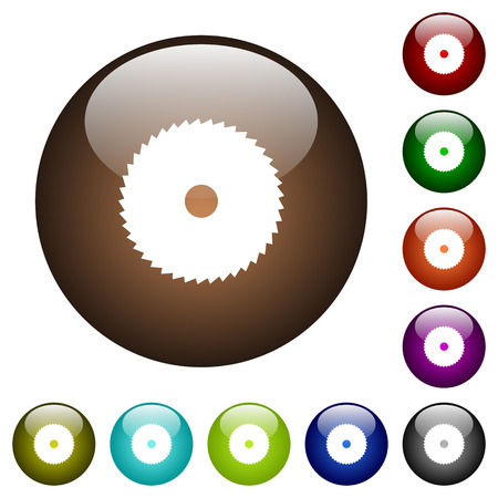 Circular saw white icons on round color glass buttons