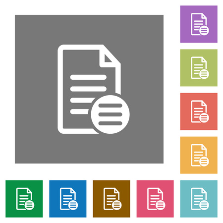 rectangle button: Document options flat icons on simple color square backgrounds Illustration