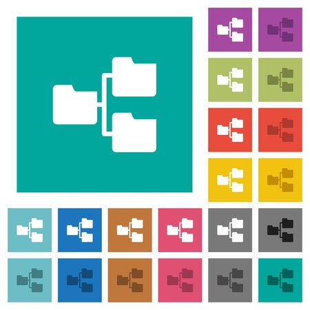 shared sharing: Shared folders multi colored flat icons on plain square backgrounds. Included white and darker icon variations for hover or active effects.