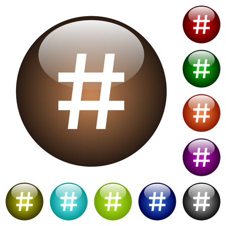 followers: Hash tag white icons on round color glass buttons
