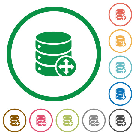 simple frame: Move database flat color icons in round outlines on white background