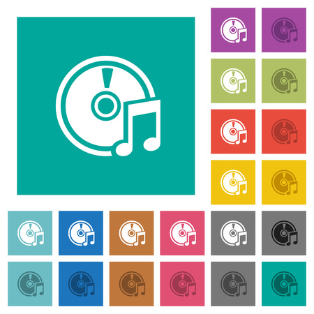 hover: Audio CD multi colored flat icons on plain square backgrounds. Included white and darker icon variations for hover or active effects.