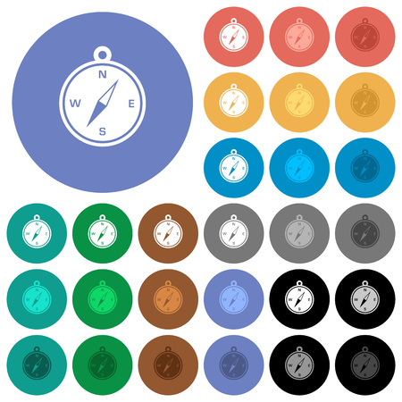 magnetic north: Compass multi colored flat icons on round backgrounds. Included white, light and dark icon variations for hover and active status effects, and bonus shades on black backgrounds.