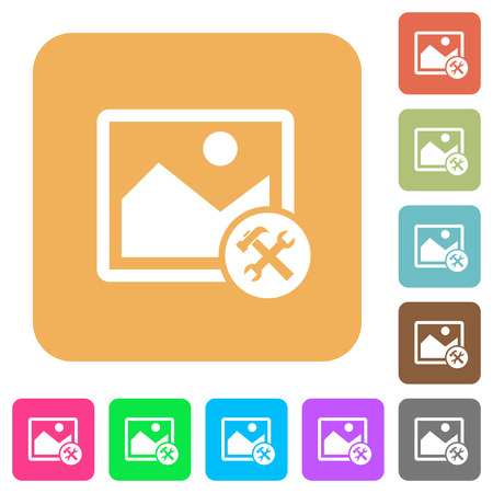 photo album: Image tools flat icons on rounded square vivid color backgrounds.