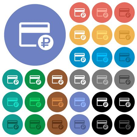 polychrome: Ruble credit card multi colored flat icons on round backgrounds. Included white, light and dark icon variations for hover and active status effects, and bonus shades on black backgounds. Illustration