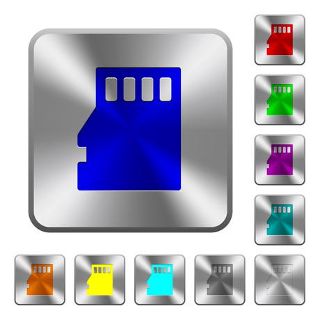 memory drive: Micro SD memory card engraved icons on rounded square glossy steel buttons Illustration