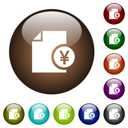 report icon: Yen financial report white icons on round color glass buttons Illustration