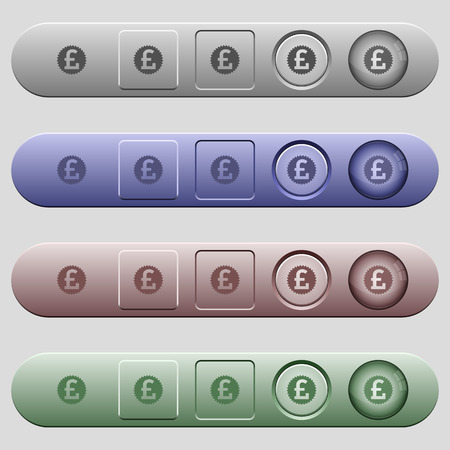salient: Pound sticker icons on rounded horizontal menu bars in different colors and button styles