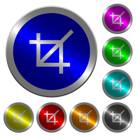 Crop tool icons on round luminous coin-like color steel buttons