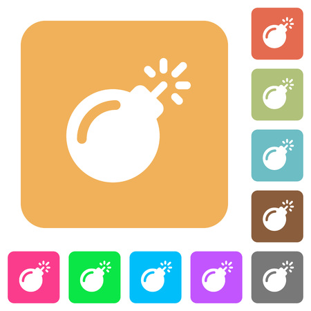 Bomb with sparkling fuse flat icons on rounded square vivid color backgrounds.