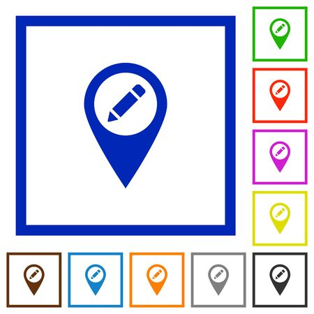 rectangle button: Rename GPS map location flat color icons in square frames on white background