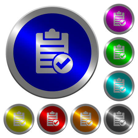 yellow notepad: Note done icons on round luminous coin-like color steel buttons Illustration