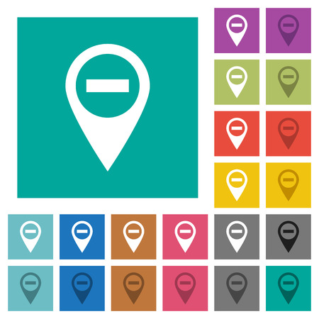 labeling: Remove GPS map location multi colored flat icons on plain square backgrounds. Included white and darker icon variations for hover or active effects. Illustration