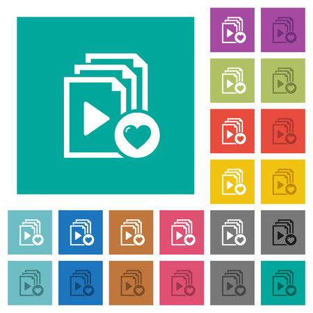 Favorite playlist multi colored flat icons on plain square backgrounds. Included white and darker icon variations for hover or active effects. Illustration