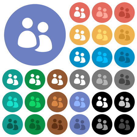 User group multi colored flat icons on round backgrounds. Included white, light and dark icon variations for hover and active status effects, and bonus shades on black backgounds. Ilustrace