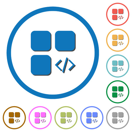 intercommunication: Component programming flat color vector icons with shadows in round outlines on white background