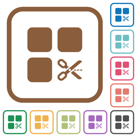 Cut component simple icons in color rounded square frames on white background
