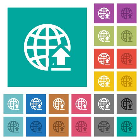 hover: Upload to internet multi colored flat icons on plain square backgrounds. Included white and darker icon variations for hover or active effects.