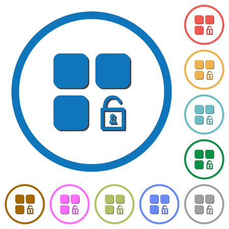 Unlock component flat color vector icons with shadows in round outlines on white background