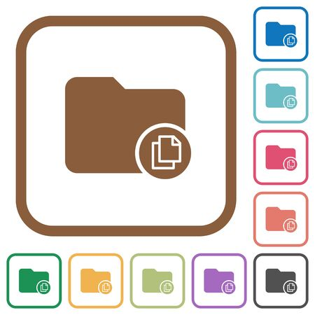 simple frame: Copy directory simple icons in color rounded square frames on white background Illustration