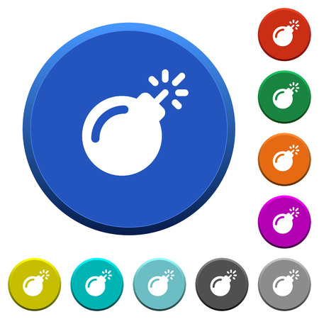 Bomb with sparkling fuse round color beveled buttons with smooth surfaces and flat white icons