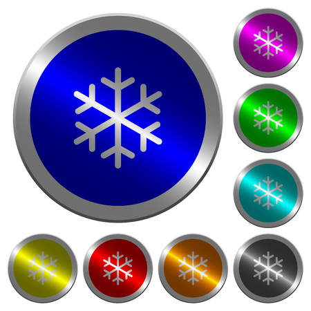 Single snowflake icons on round luminous coin-like color steel buttons