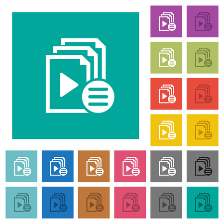 multiple choice: Playlist options multi colored flat icons on plain square backgrounds. Included white and darker icon variations for hover or active effects.