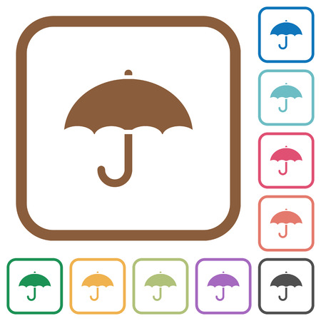 aegis: Umbrella simple icons in color rounded square frames on white background Illustration