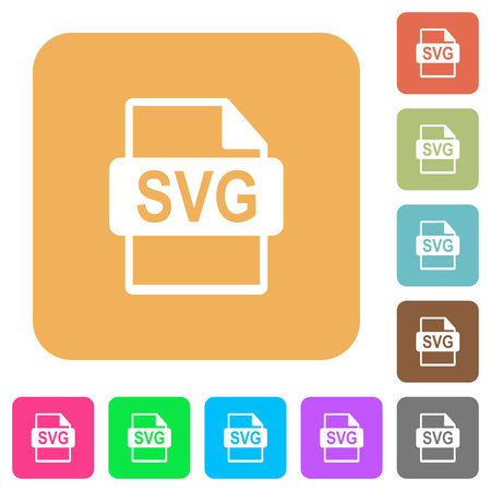 svg: SVG file format flat icons on rounded square vivid color backgrounds. Illustration