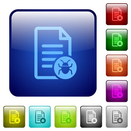 noxious: Malicious document icons in rounded square color glossy button set Illustration