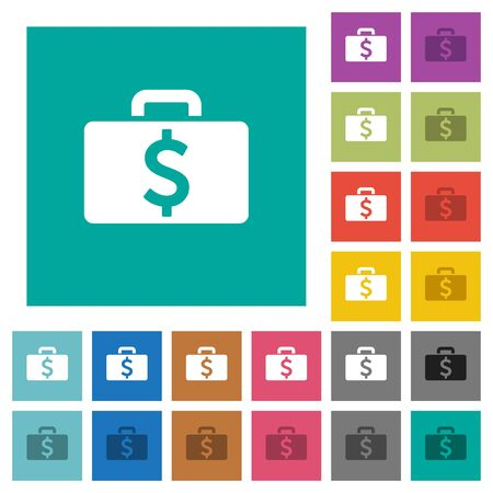 pack of dollars: Dollar bag multi colored flat icons on plain square backgrounds. Included white and darker icon variations for hover or active effects. Illustration