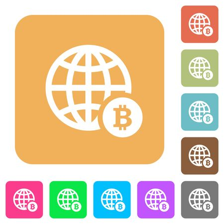 Online Bitcoin payment flat icons on rounded square vivid color backgrounds.