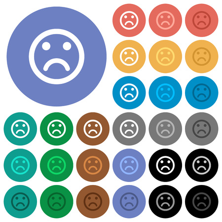 polychrome: Sad emoticon multi colored flat icons on round backgrounds. Included white, light and dark icon variations for hover and active status effects, and bonus shades on black backgounds. Illustration