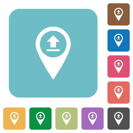 rectangle button: Upload GPS map location white flat icons on color rounded square backgrounds