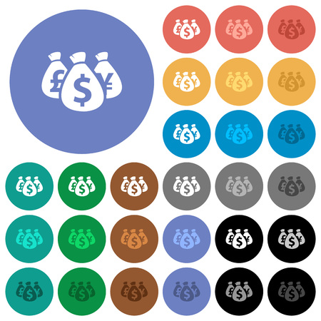 yen: Money bags multi colored flat icons on round backgrounds. Included white, light and dark icon variations for hover and active status effects, and bonus shades on black backgounds.
