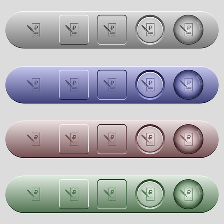 Signing Ruble cheque icons on rounded horizontal menu bars in different colors and button styles