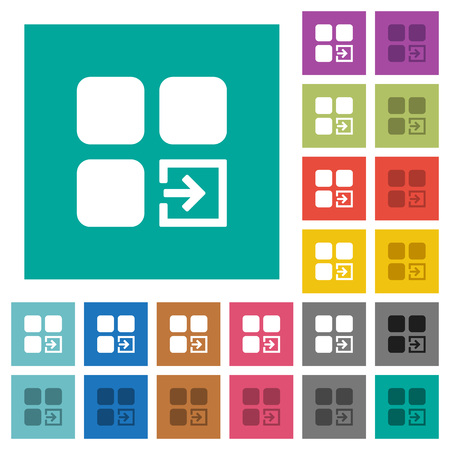 intercommunication: Import component multi colored flat icons on plain square backgrounds. Included white and darker icon variations for hover or active effects.