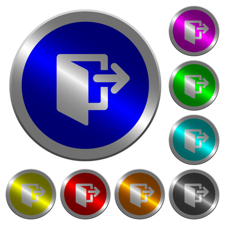 Exit icons on round luminous coin-like color steel buttons Illustration