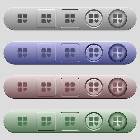 matching: Favorite component icons on rounded horizontal menu bars in different colors and button styles