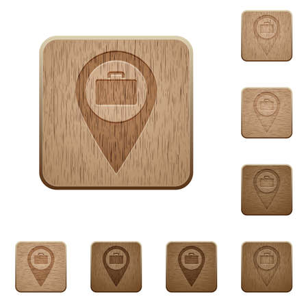 Baggage storage GPS map location on rounded square carved wooden button styles Illustration