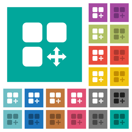 intercommunication: Move component multi colored flat icons on plain square backgrounds. Included white and darker icon variations for hover or active effects.