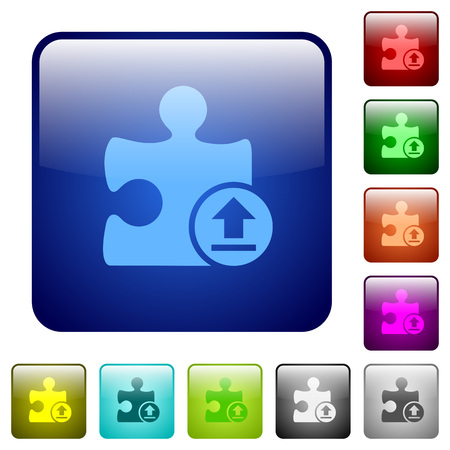 rectangle button: Upload plugin icons in rounded square color glossy button set